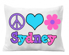 Love Flower Pillowcase - Girls Flower Personalized Pillow case - Peace Love Flower Pillowcase - Birthday Gift - Christmas Gift - Kids Gifts