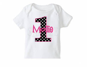 Girls Birthday Polka Dot Number Tee