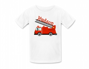 Fire Truck Shirt or Fire Truck Birthday Shirt, Personalized Firetruck Tshirt, Personalized Birthday Shirts, Fire Truck Birthday Party