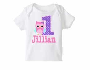 Girl's Owl Shirt or Owl Birthday Shirt, Personalized Owl Tshirt, Personalized Birthday Shirts, Owl Birthday Party, Pink Purple Owl Shirt