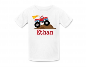 Monster Truck Shirt or Monster Truck Birthday Shirt, Personalized Monster truck, Personalized Birthday Shirts, Fire Truck Birthday Party