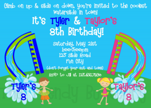 Birthday Invitations Siblings Twins WaterSlide Birthday Invitation