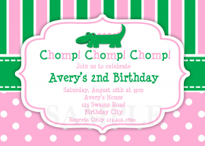 Alligator Girls Birthday Party Invitations