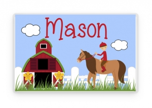 Horseback Riding Placemat, Kids Personalized Place Mat, Horse Personalized Gift, Horse Placemats, Horse Placemat, Kids Personalized Gifts