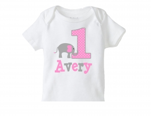 Girls Elephant Birthday Shirt, Personalized Elephant TShirt or Bodysuit, 1st Birthday Elephant Shirt, Girls Elephant, Pink Elephant, 2nd, 3rd, 4th