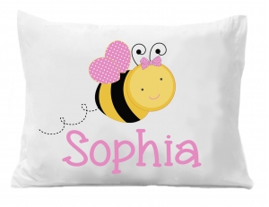 Bumble Bee Personalized Pillow Case, Personalized Bee Pillowcase, Personalized Pillowcase,Animal Bedding, Bee Bedding, Bumble Bee PIllowcase