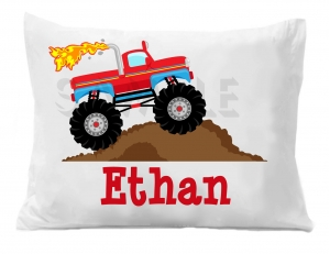 Monster Truck Pillow Case, Personalized Boys Pillowcase, Boys Truck Bedding, Personalized Bedding