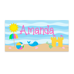 Girls Personalized Summer Beach Towel