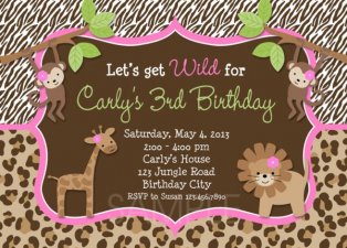 Monkey Jungle Girls Birthday Invitation