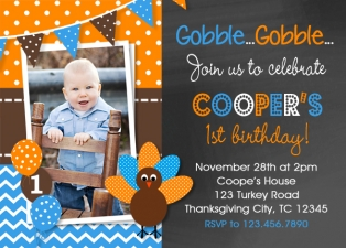 Thanksgiving Turkey Birthday Invitation , Turkey Birthday Party Invitation, Thanksgiving Birthday Invitation, 1st Thanksgiving Invitation
