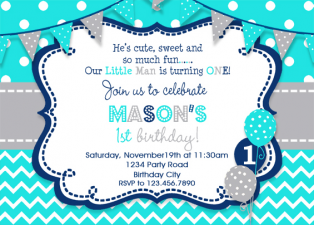 Boys Birthday Invitation , Boys Party Invitation , Turquoise Grey Navy , Boys 1st Birthday Invitation , Printed Invitation, Printable Invite