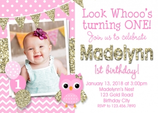 Owl Birthday Invitation, Owl 1st Birthday, Pink and Gold Birthday Invitation, Owl Birthday Party, Owl 1st Birthday Party, Kids Birthday