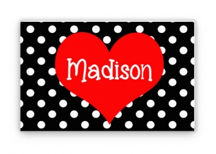 Valentine's Day Personalized Placemat, Kids Heart Placemat, Childrens Heart Placemat, Childs Polka Dot Placemat, Valentine Gift Active Photos