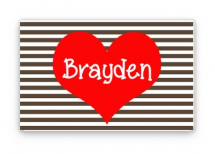 Valentine's Day Gift, Personalized Placemat, Kids Heart Placemat, Childrens Heart Placemat, Childs Stripes Placemat, Valentine's Day