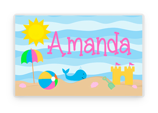 Girls Summer Beach Placemat, Summer Placemat, Laminated Placemat, Kids Personalized Placemats, Personalized Gift