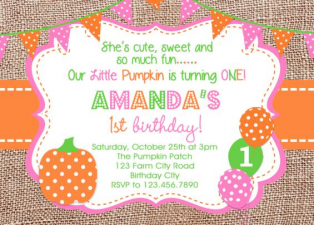 Pumpkin Picking Birthday Invitation
