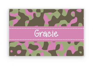 Personalized Camouflage Placemat, Kids Camo Pink Personalized Place Mat, Pink Camo Personalized Gift, Placemats, Kids Personalized Gifts