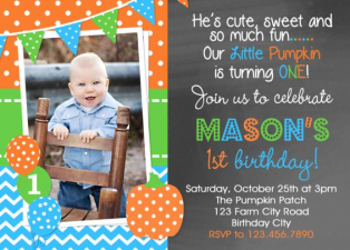 Boys Pumpkin Picking Birthday Invitation