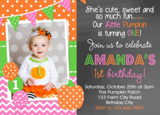 Chalkboard Girls Pumpkin Picking Birthday Invitation