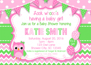 Owl Girl Pink Shower Invitation , Owl Baby Shower Invitation