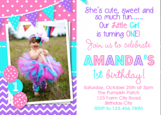 Girls 1st Birthday Invitation , Purple Pink Turquoise birthday Invitation , 2nd Birthday invitation , Chevron Printed Party Invitations