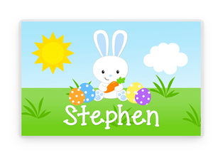 Easter Personalized Placemat, Easter Bunny Laminated Placemat, Easter Table Decoration, Bunny Decorations, Kids Table, Kids Easter gift