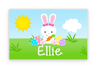 Girls Easter Personalized Placemat, Easter Bunny Laminated Placemat, Easter Table Decoration, Bunny Decorations, Kids Table, Kids Easter gift
