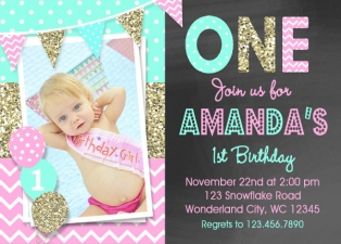 Pink Mint Gold Birthday invitation, Gold and Pink 1st Birthday Invitation, Girls Birthday Invitations, Chalkboard Birthday, Gold Birthday