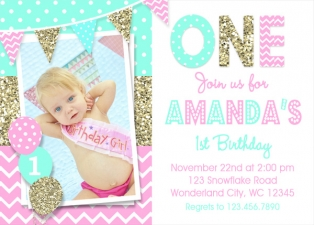 Pink and Gold Birthday Invitation, Pink and Gold 1st Birthday Invitation, Girls Birthday Party,Printed Invitation, Gold 1st Birthday Party