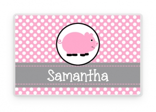 Personalized Placemat, Kids Place Mat, Pink Pig Placemat, Childs Place mat, Laminated Place mat, Personalized Gift, Children's Gift