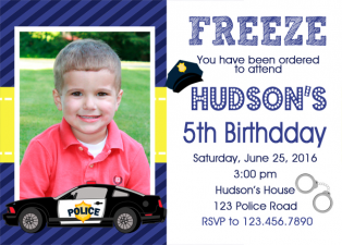 Police Birthday Invitation, Police Car Birthday Party Invitation