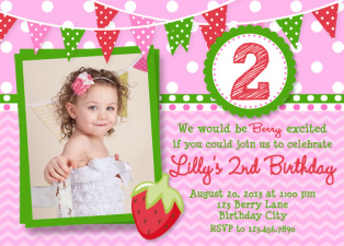 Strawberry Birthday Invitation , Berry Birthday Invitation , Girls Birthday Invitation , Strawberry Invitation Printed or Printable