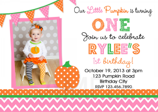Chevron Photo Girls Pumpkin Birthday Invitation
