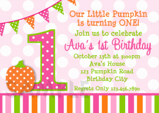 Pumpkin Girls Birthday Party Invitation
