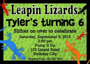 boys lizard invitation
