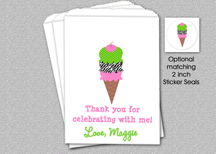 Ice Cream Party Bags, Ice Cream Goody Bags, Party Favor Bag, Cookie Bags, Ice Creaml Party Favor Bags, Ice Cream Gift Bags