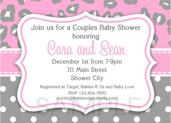 Print Your Own Baby Shower Invitations Grey And Pink Cheeta