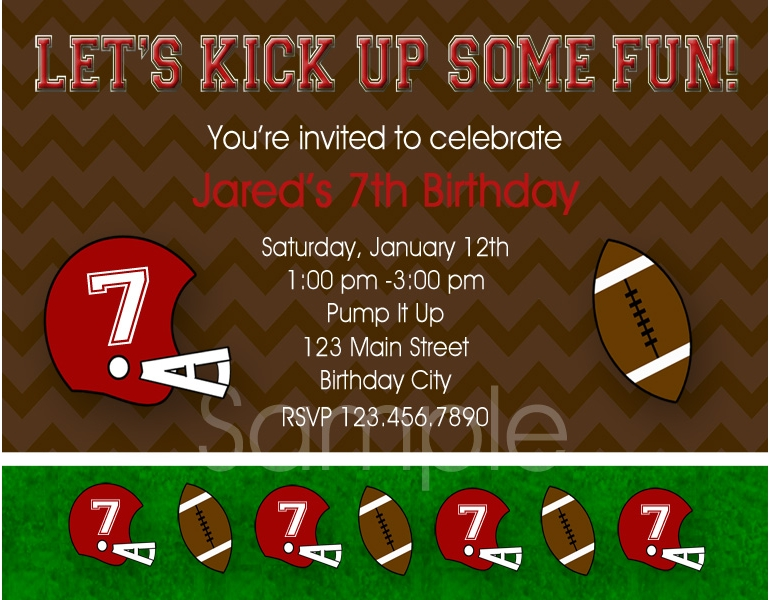 Printable Birthday Invitations Boys Football Party Invites