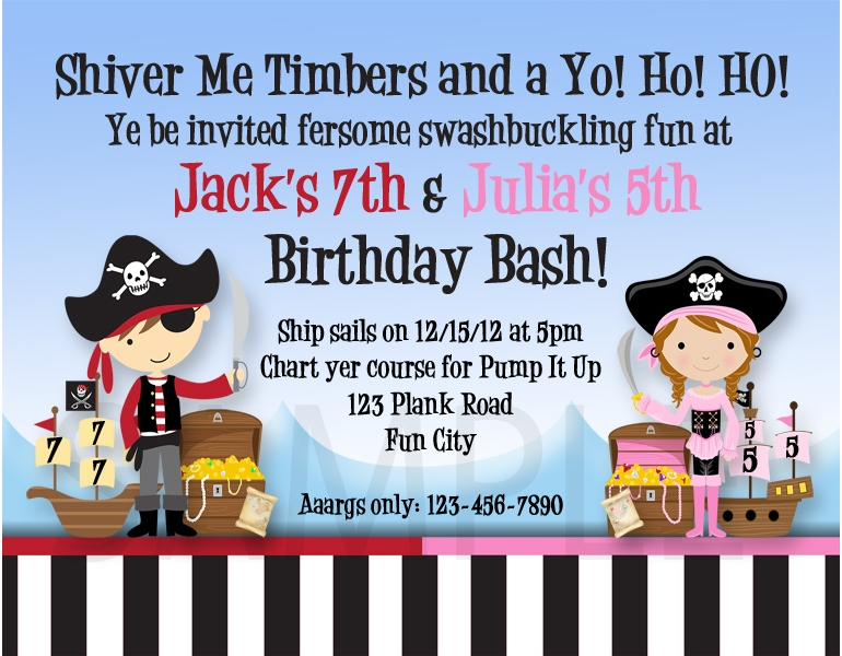 Printable Birthday Invitations Twins Siblings Pirate Party Invites – Pump It Up Party Invitations