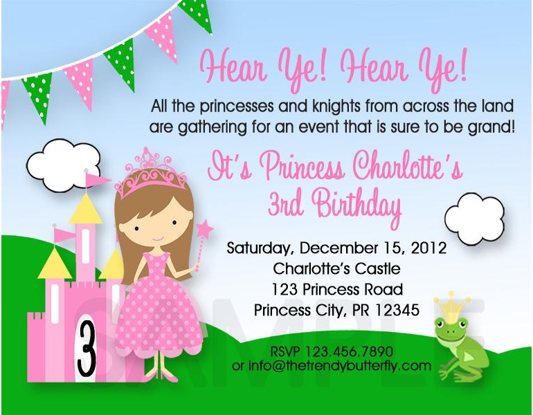 Printable birthday invitations princess party princess girls printable birthday invites stopboris Image collections