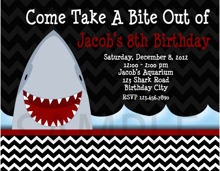 Printable Birthday Invitations Little Boys Shark Party Invites