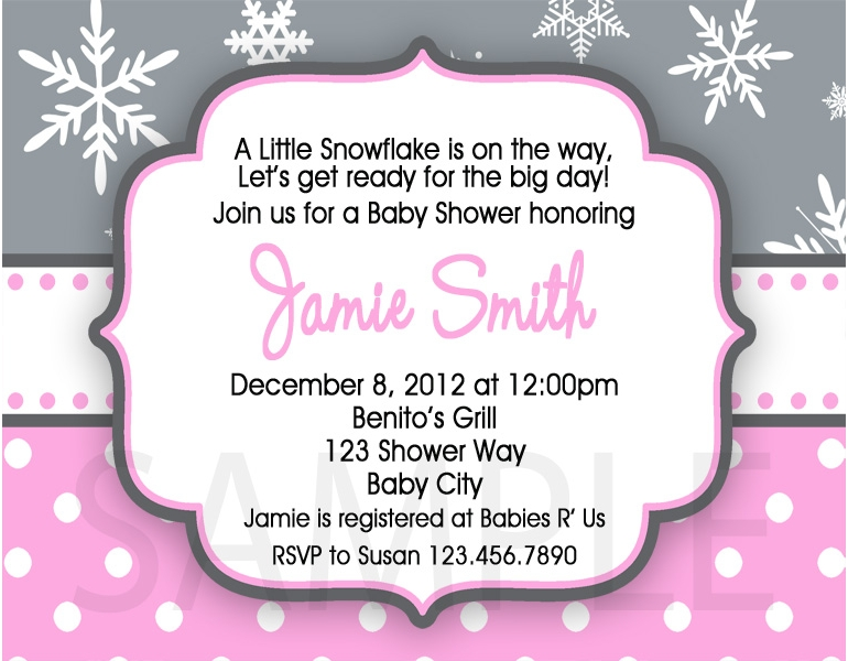 print your own baby shower invitations pink snowflake polka dot