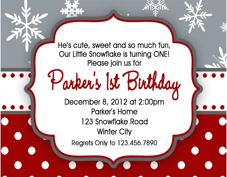 Winter Snowflake Birthday Invitations 1st Birthday Winter – Snowflake Birthday Invitations